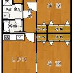 1・3号室は、反転タイプ(間取)